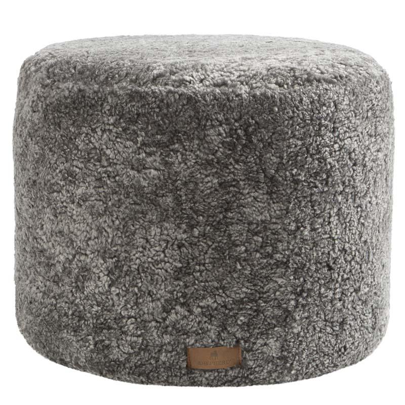 Grey Sheepskin Pouf