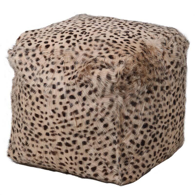 Leopard Print Goat Fur Pouf