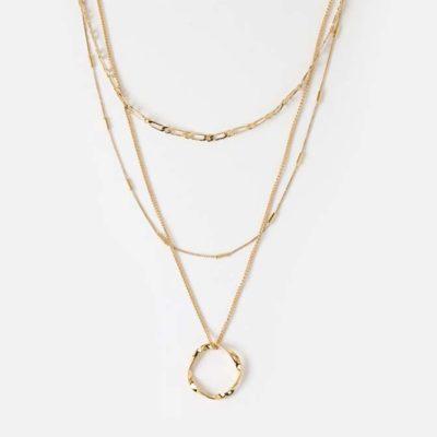 10.) Open Circle Three Row Necklace