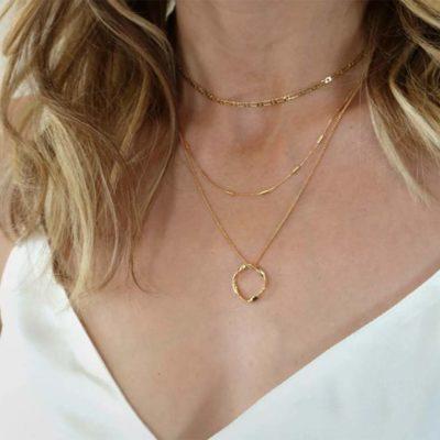 10a) Open Circle Three Row Necklace