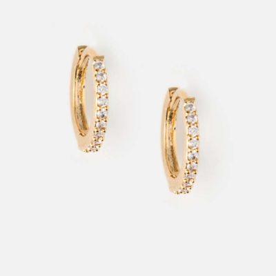 11.) Mini Pave Huggie Hoop Earrings Gold