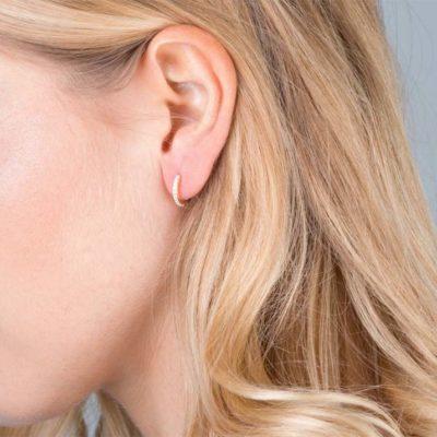 11a) Mini Pave Huggie Hoop Earrings Gold