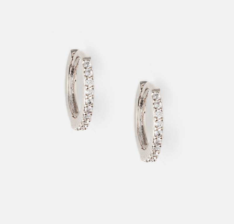 12.) Mini Pave Huggie Hoop Earrings Silver