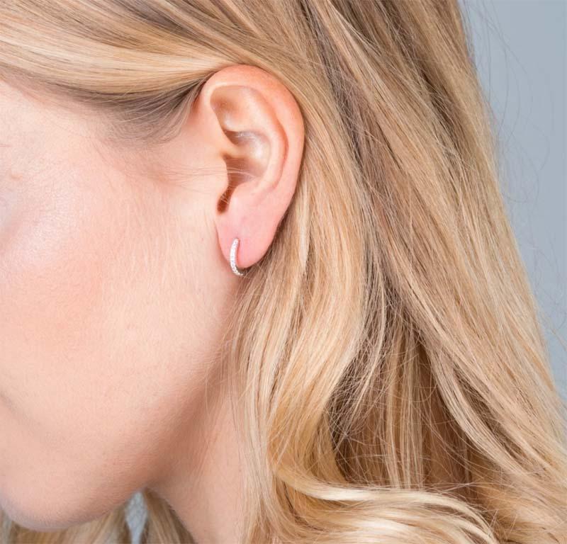 12a) Mini Pave Huggie Hoop Earrings Silver