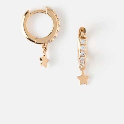 13.) Pave Huggie Hoop Earrings With Star Drop – Gold