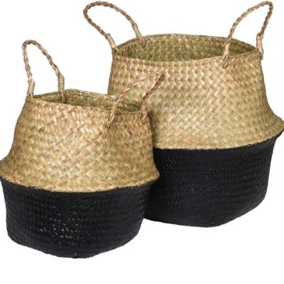A Pair Of Black & Natural Seagrass Baskets