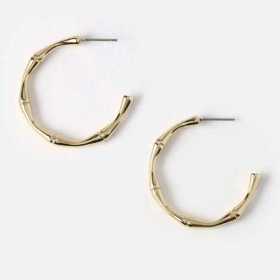 Bamboo Hoop Earrings Gold