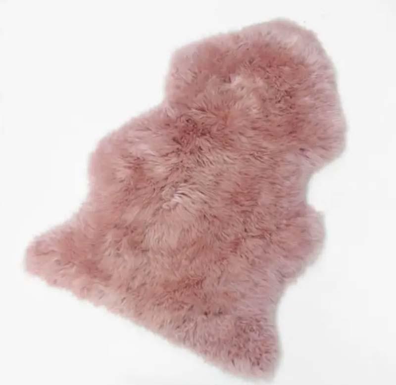 100% Dark Pink Long-Haired Sheepskin