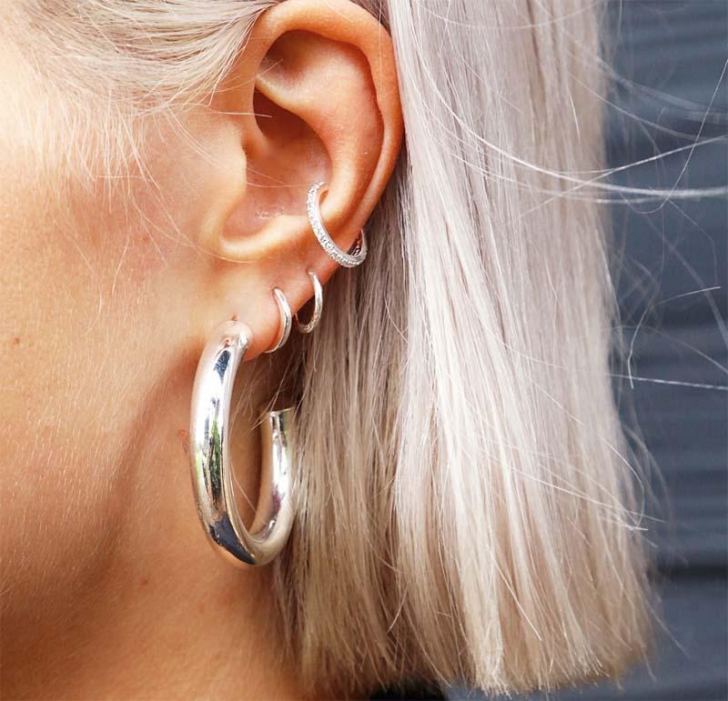 Silver Fine Pave Ear Cuff
