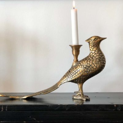 Antique Brass Pheasant Candle Holder