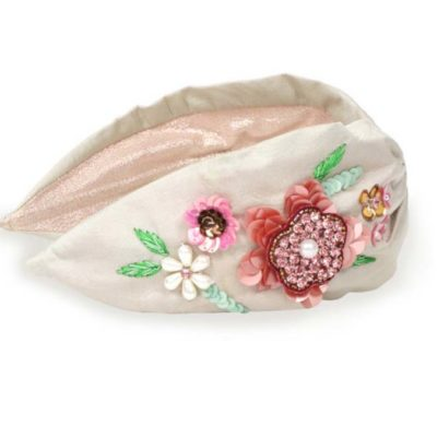 Embroidered Floral Headband Champagne