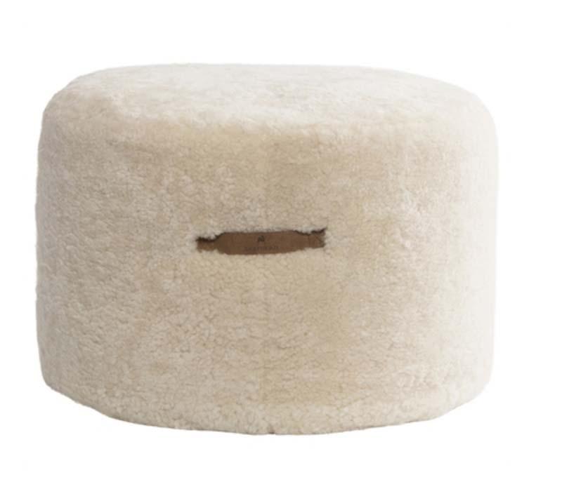 100% Natural Sheepskin Pouf Round