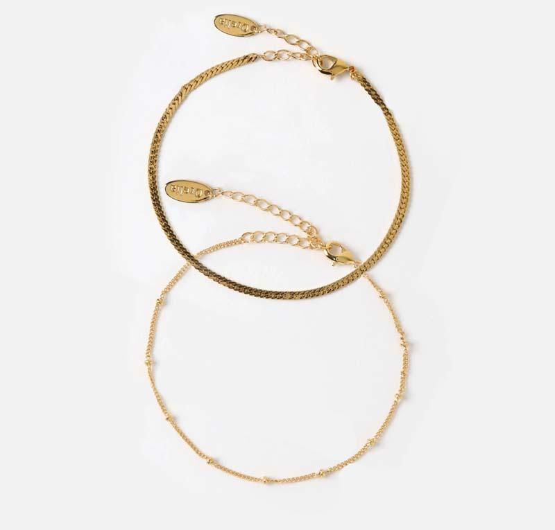 Satellite & Flat Curb Bracelet Duo
