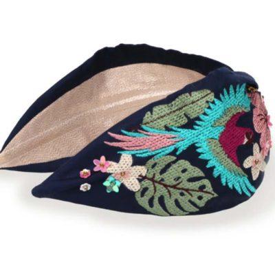 Embroidered Parrot Headband Navy