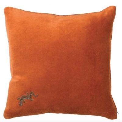Orange Embroidered Gecko Velvet Cushion