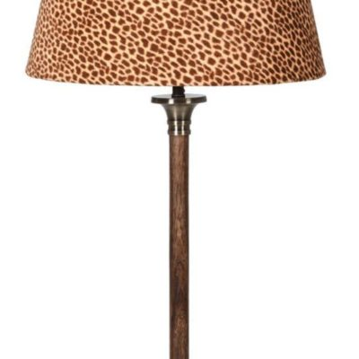 Wood and Brass Table Lamp with Leopard Velvet Shade