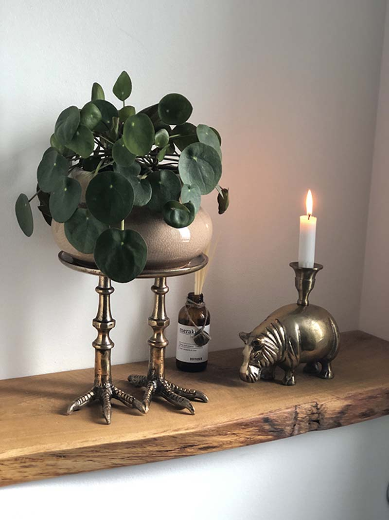 Antique Brass Hippo Candle Holder