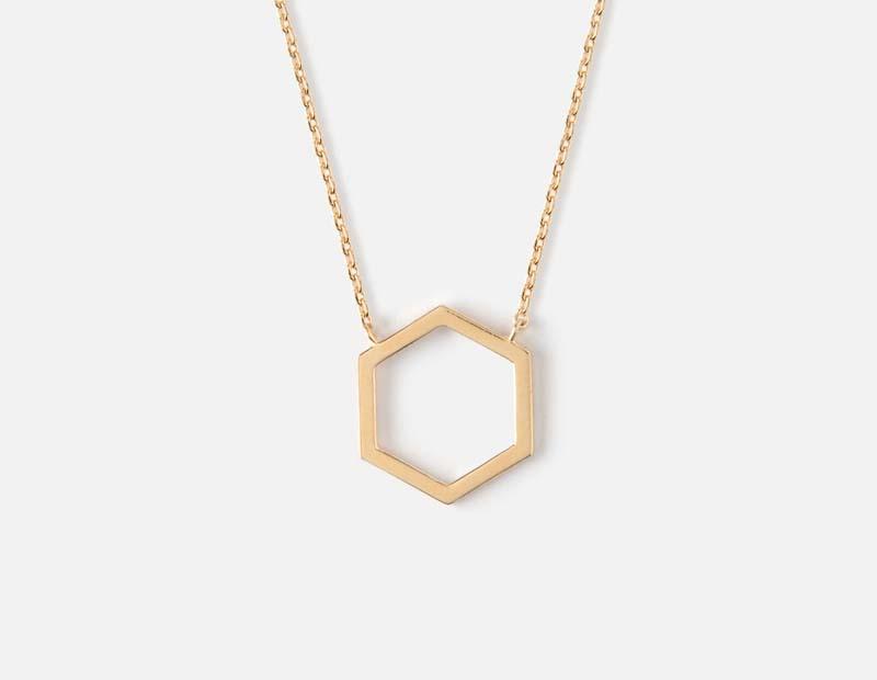 Cutout Hexagon Necklace
