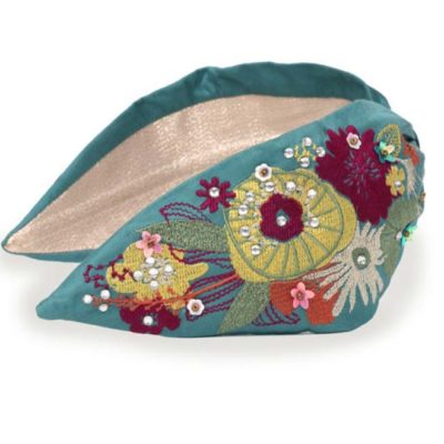 Embroidered Modern Floral Headband Turquoise