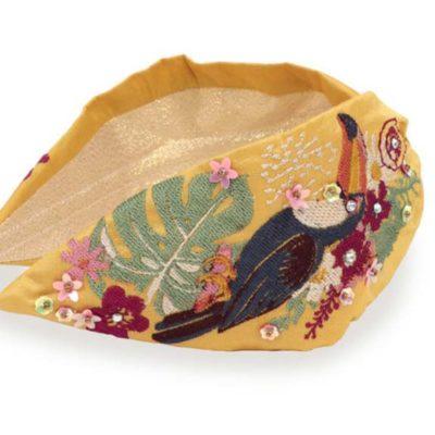 Embroidered Toucan Headband Mustard