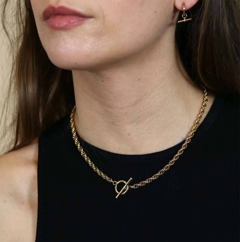 Chunky Rope Chain T Bar Necklace