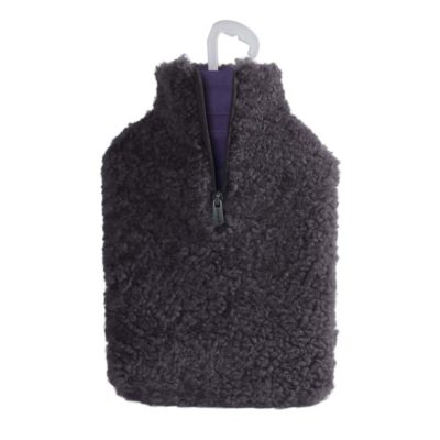 100% Charcoal Sheepskin Water Bottle Cover