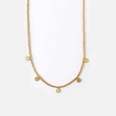 Coin & Seed Bead Collar Length Necklace
