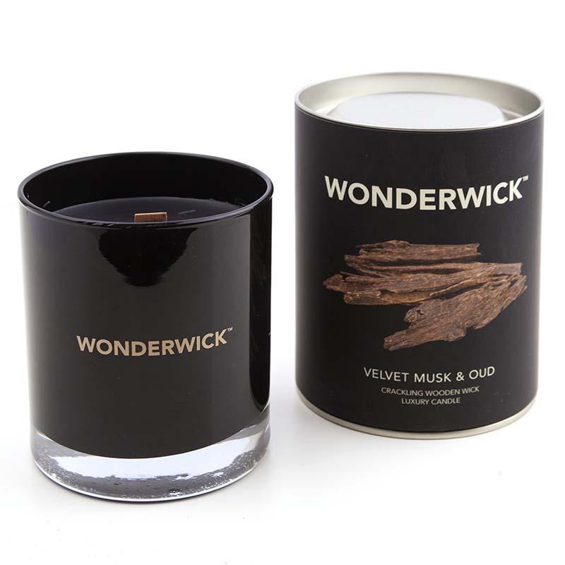 .) Wonderwick - Velvet Musk & Oud Noir Glass candle