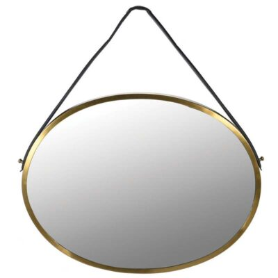 Oval Gold Wall Mirror with Leather Strap