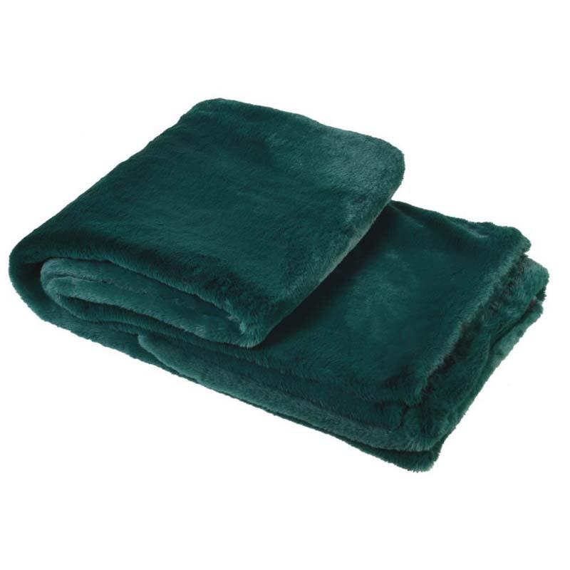 Emerald Green Faux Fur Throw