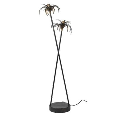 Tropicana Palm Floor Lamp with Black & White Stripe Shades